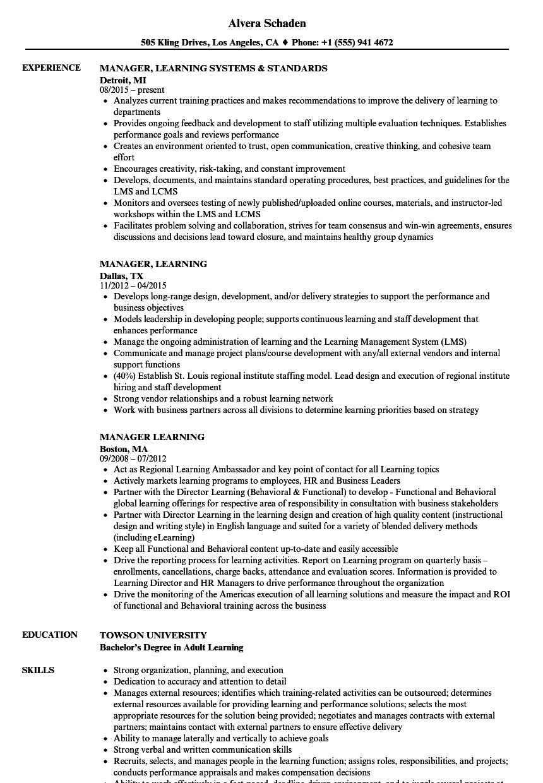 Manager, Learning Resume Samples | Velvet Jobs