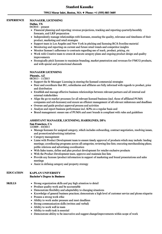 manager  licensing resume samples