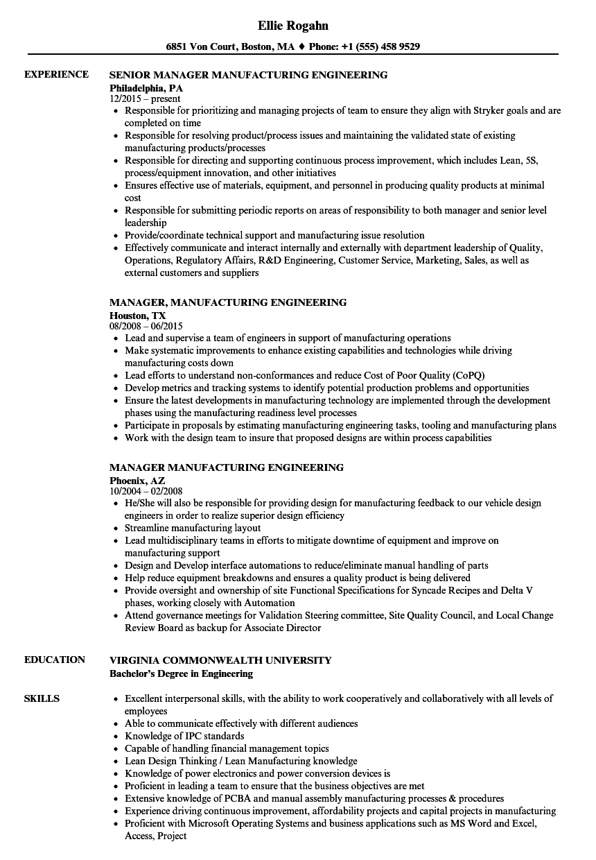 manager  manufacturing engineering resume samples