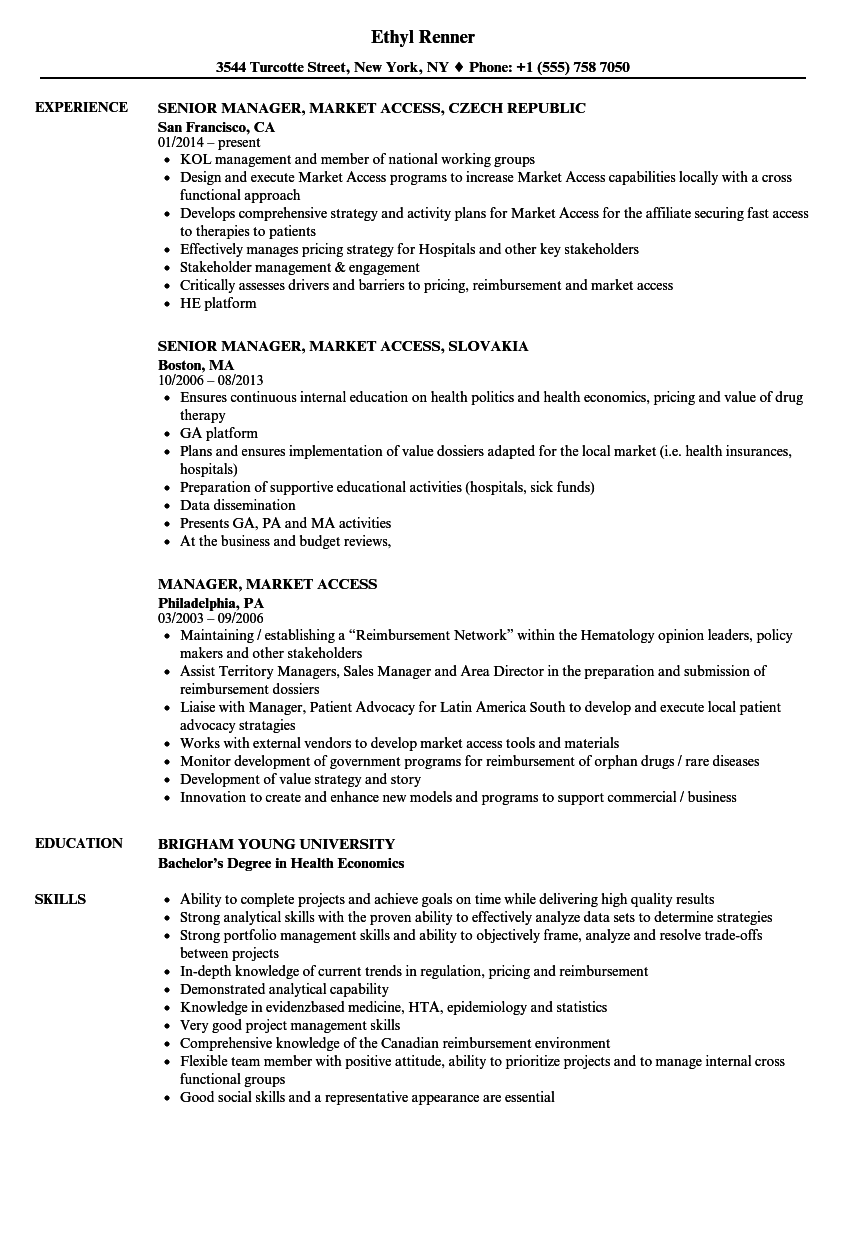 manager  market access resume samples