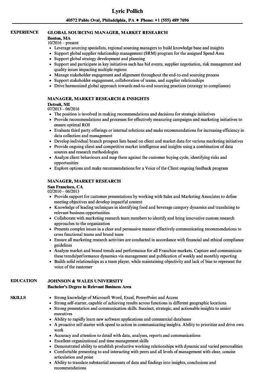 manager  market research resume samples