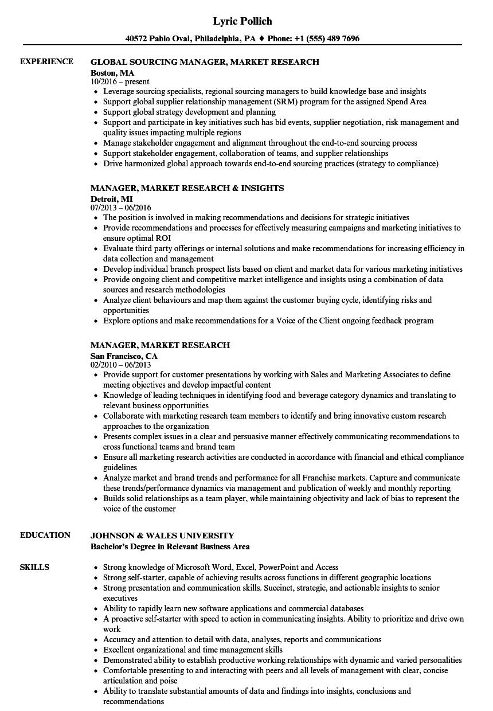 Manager, Market Research Resume Samples | Velvet Jobs