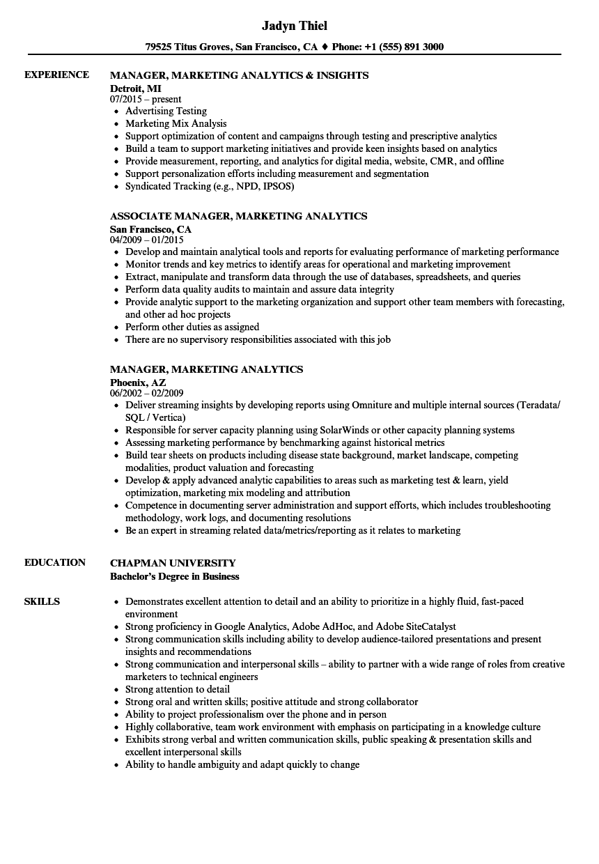 Download Manager, Marketing Analytics Resume Sample As Image File  Resume Examples Marketing