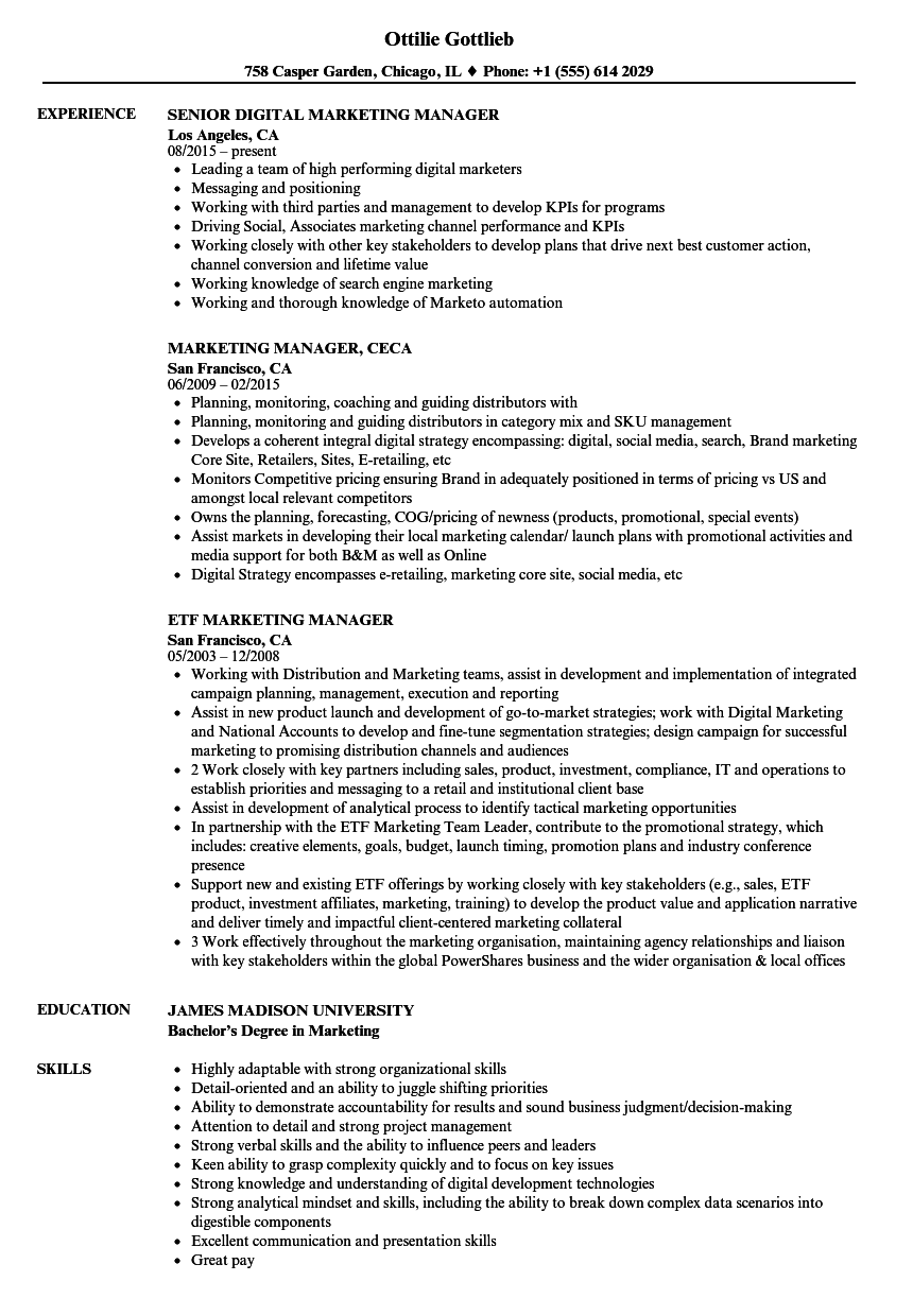 Manager Marketing Manager Resume Samples | Velvet Jobs
