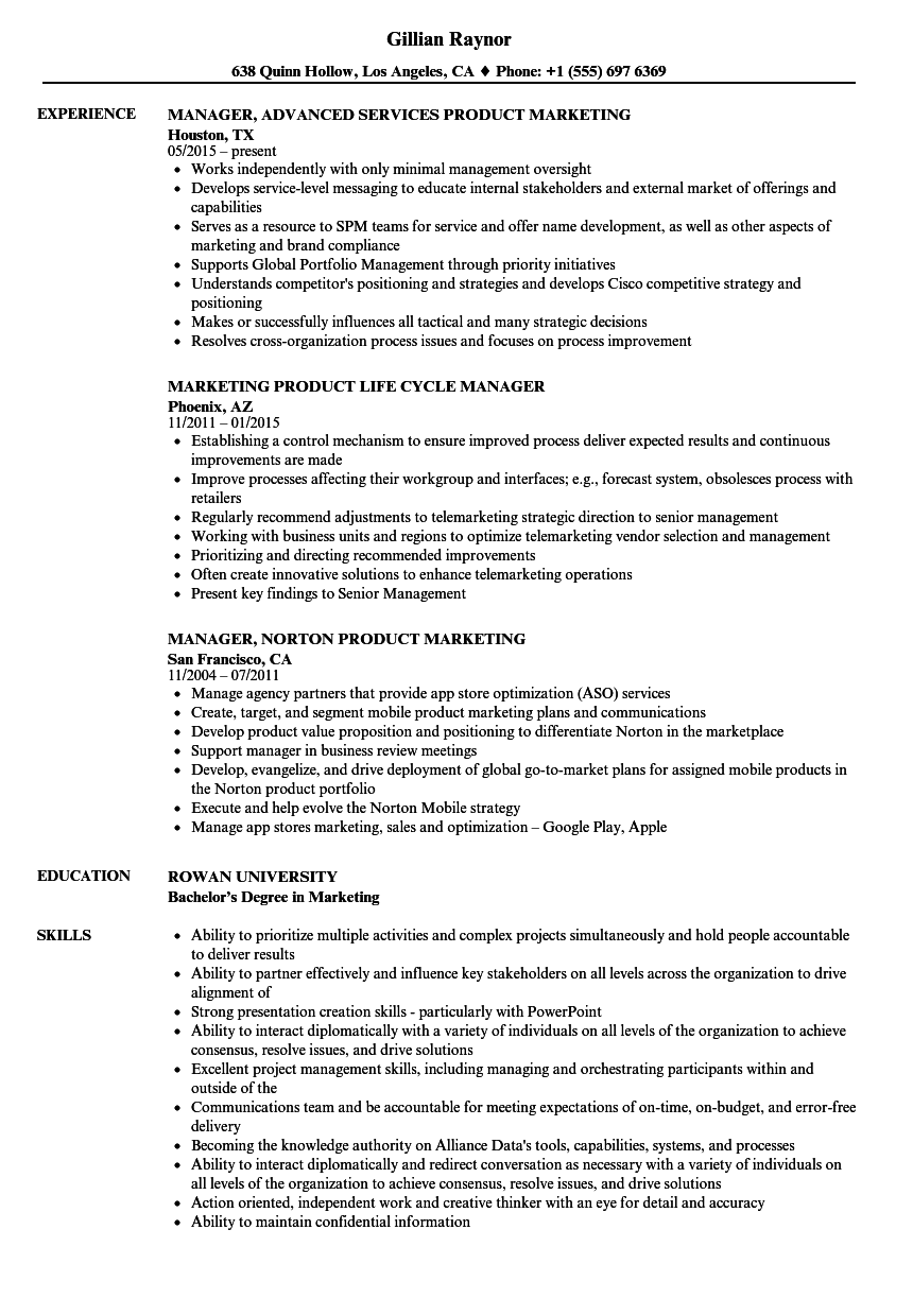 product marketing manager resume examples
