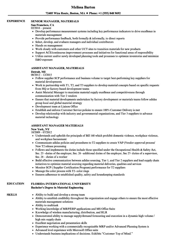Manager Materials Resume Samples Velvet Jobs