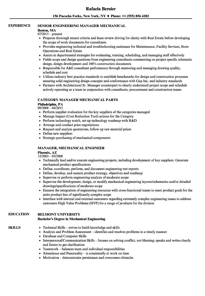 manager  mechanical resume samples