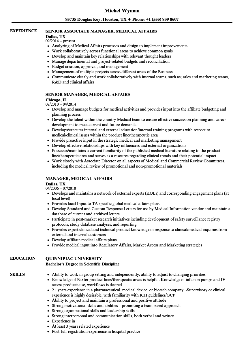 Manager, Medical Affairs Resume Samples | Velvet Jobs