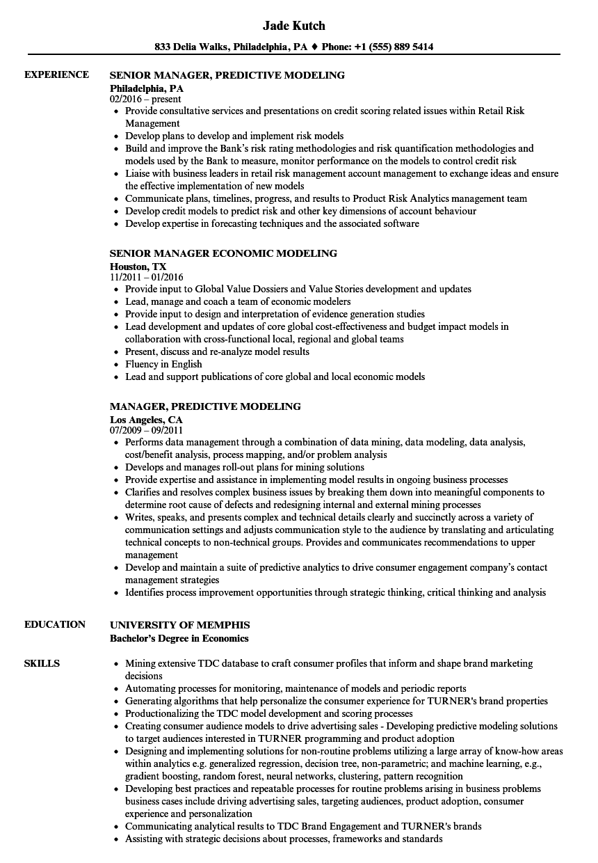 manager  modeling resume samples