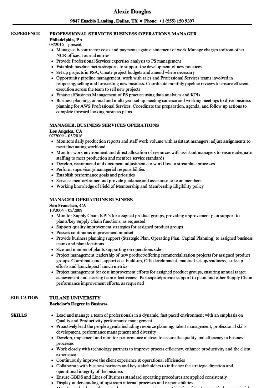 Manager Operations Business Resume Samples | Velvet Jobs