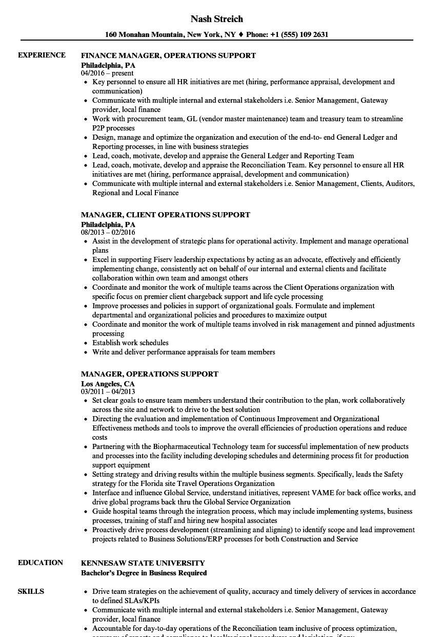 manager  operations support resume samples