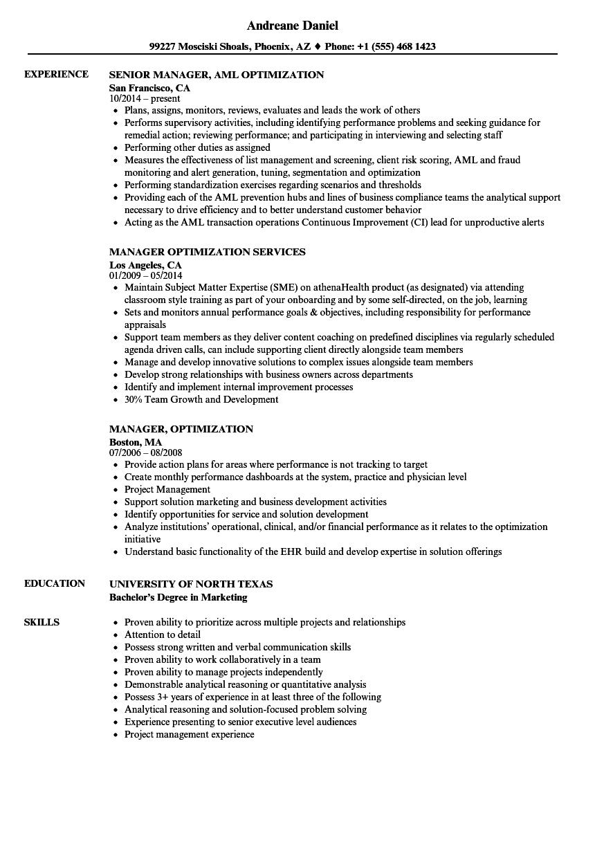 Manager Optimization Resume Samples Velvet Jobs
