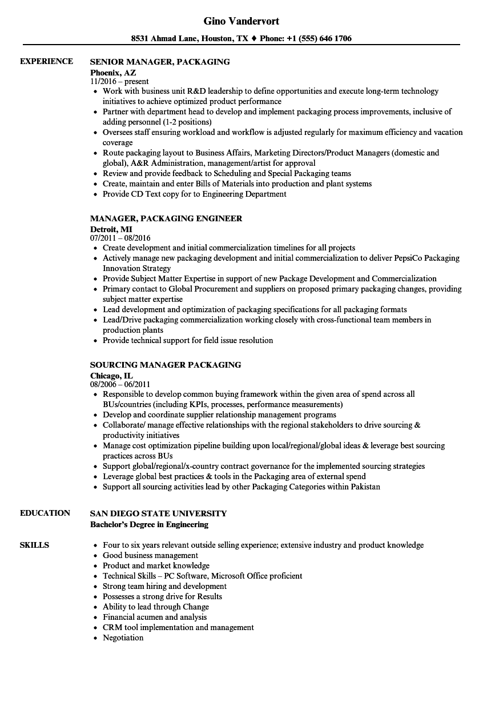 manager  packaging resume samples