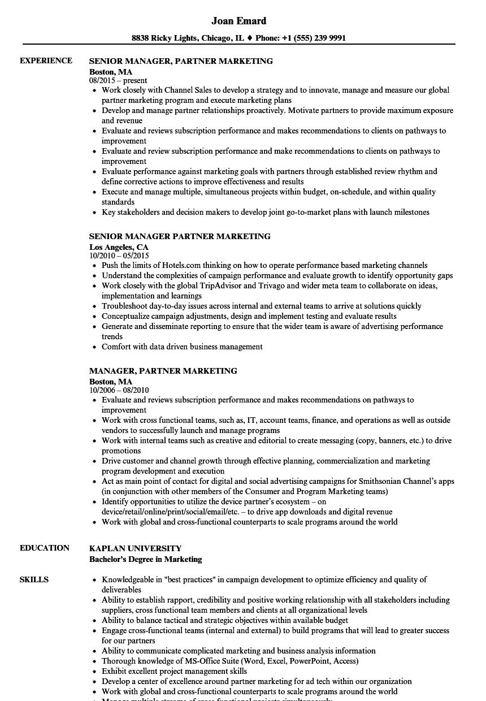Manager, Partner Marketing Resume Samples | Velvet Jobs
