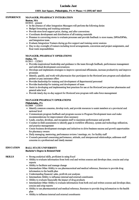 Manager Pharmacy Resume Samples | Velvet Jobs
