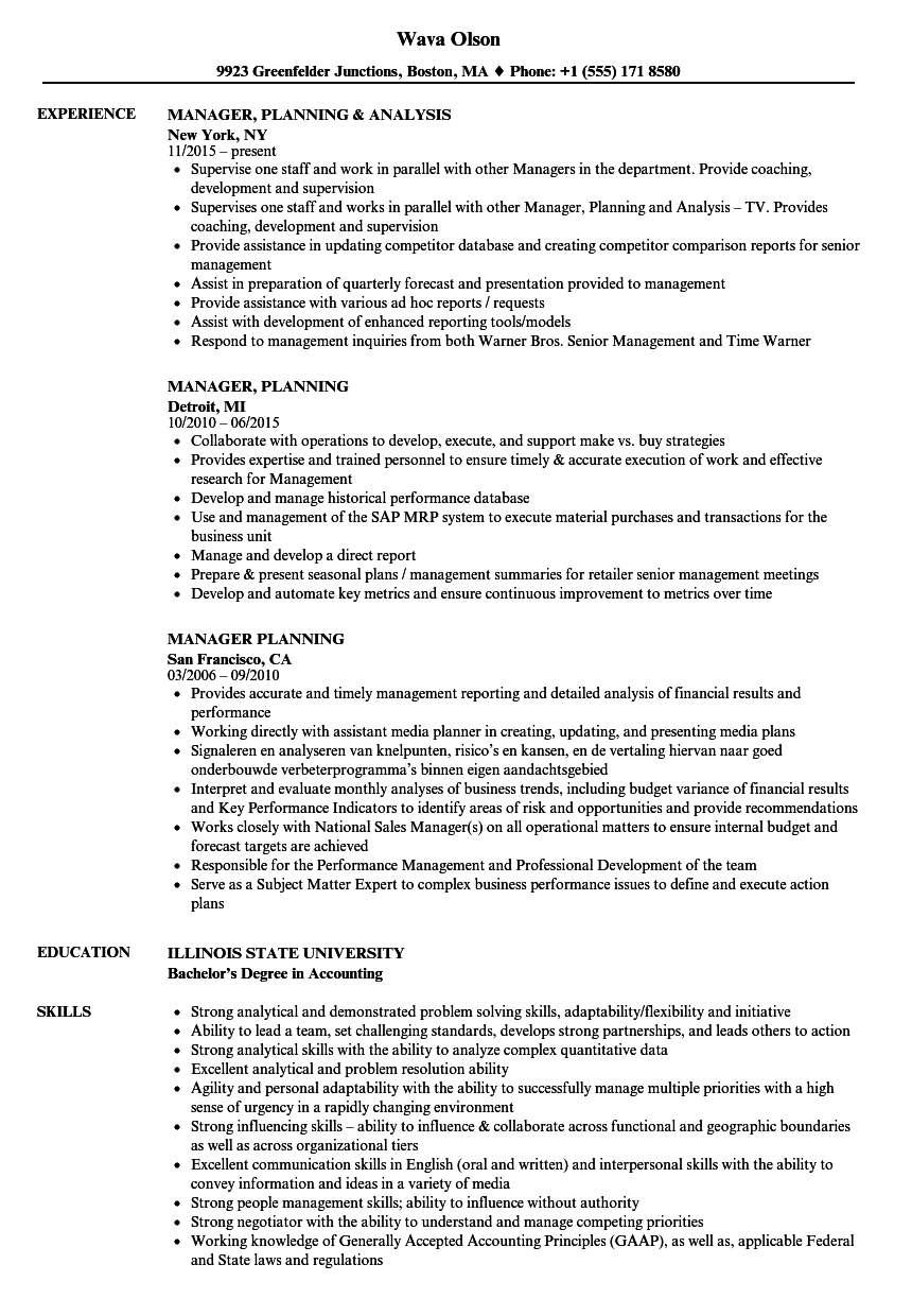 manager  planning resume samples