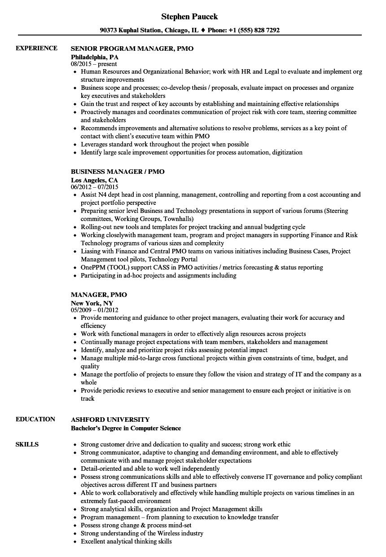 Manager Pmo Resume Samples Velvet Jobs