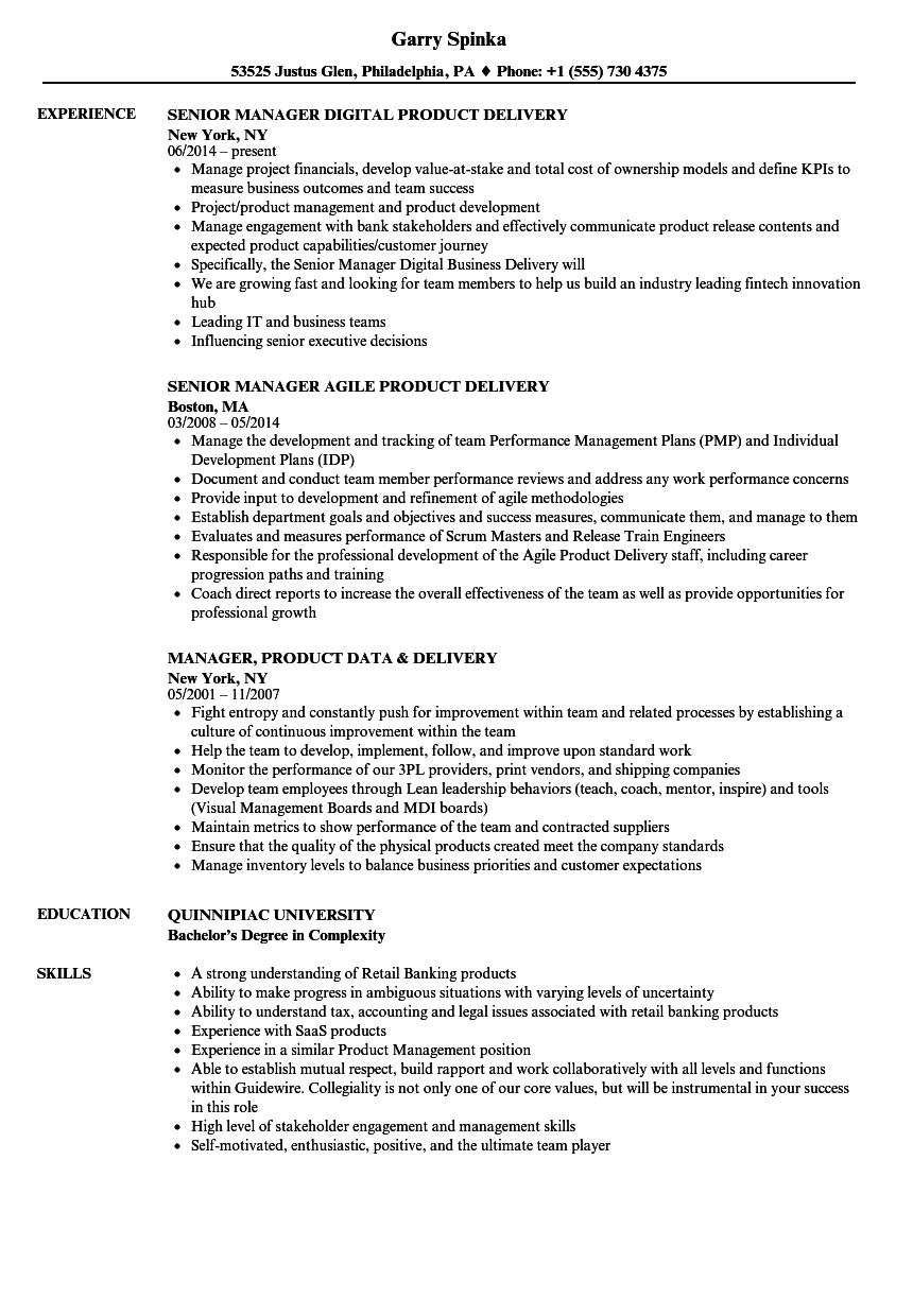 manager  product delivery resume samples
