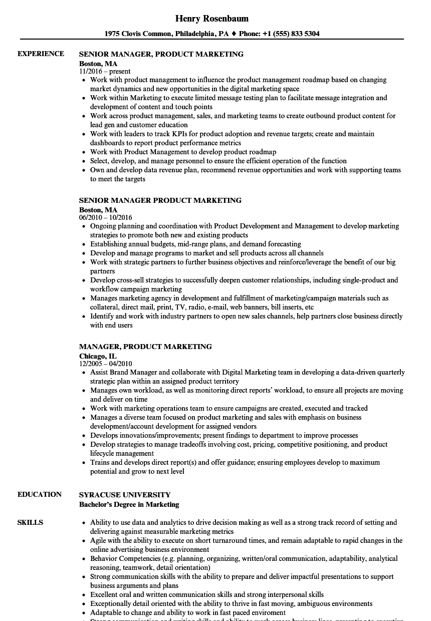 manager  product marketing resume samples