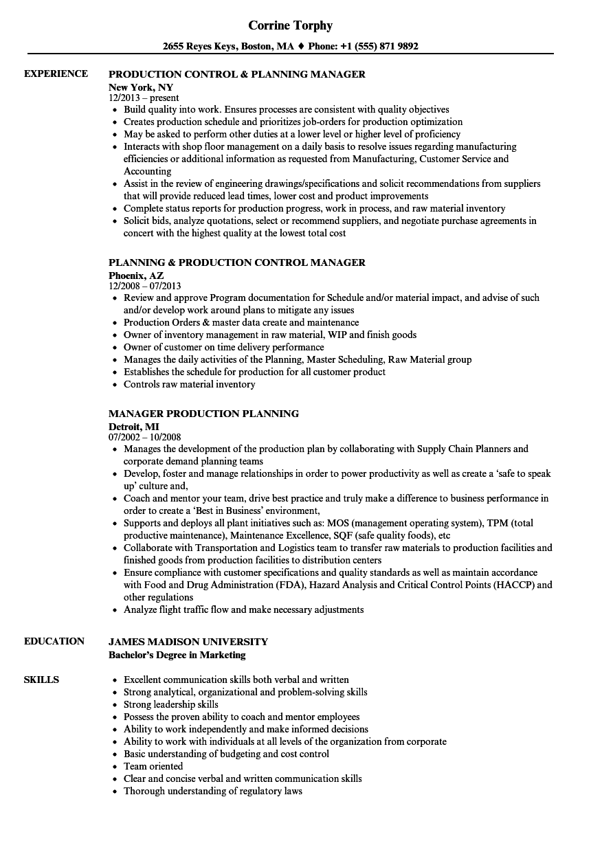 manager production planning resume samples