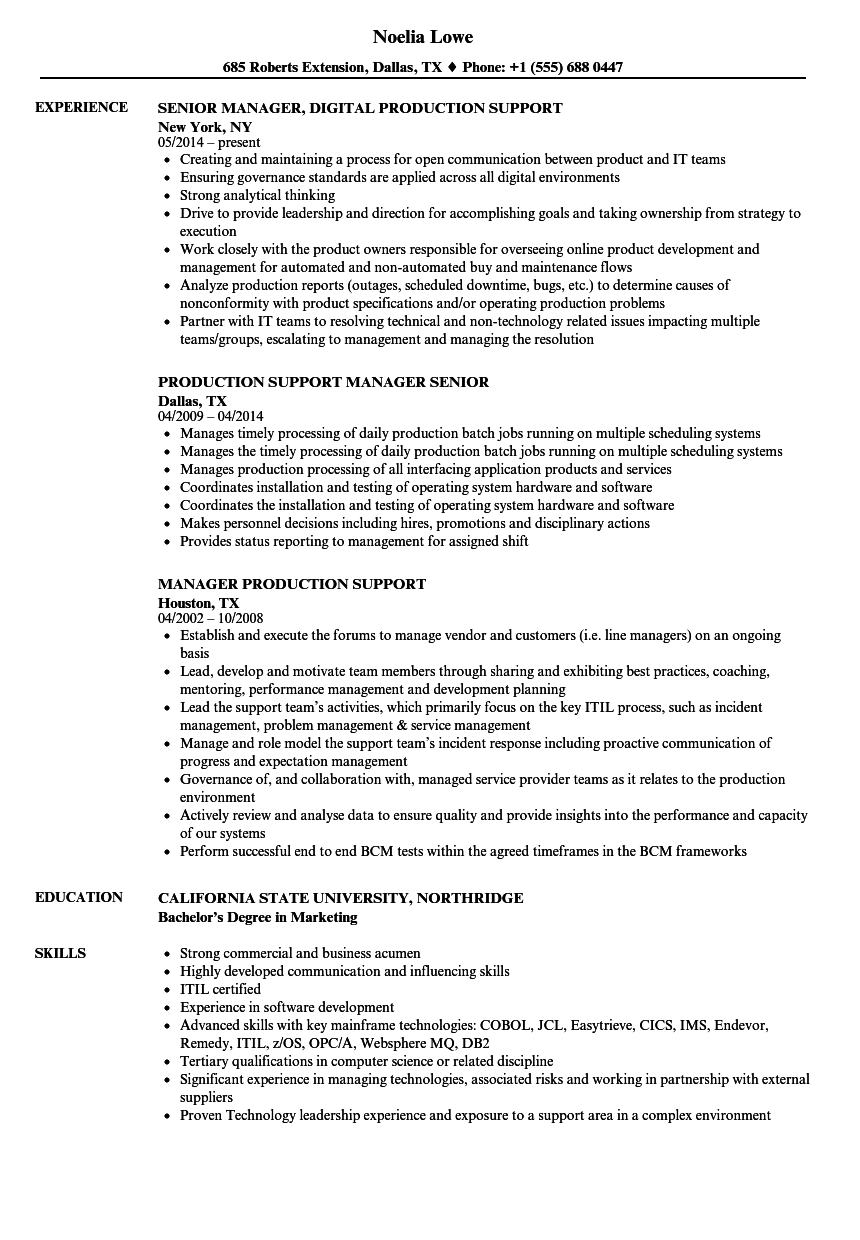 manager production support resume samples