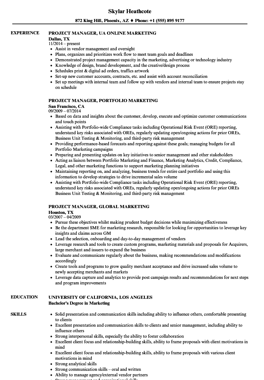 manager project manager marketing resume samples velvet jobs