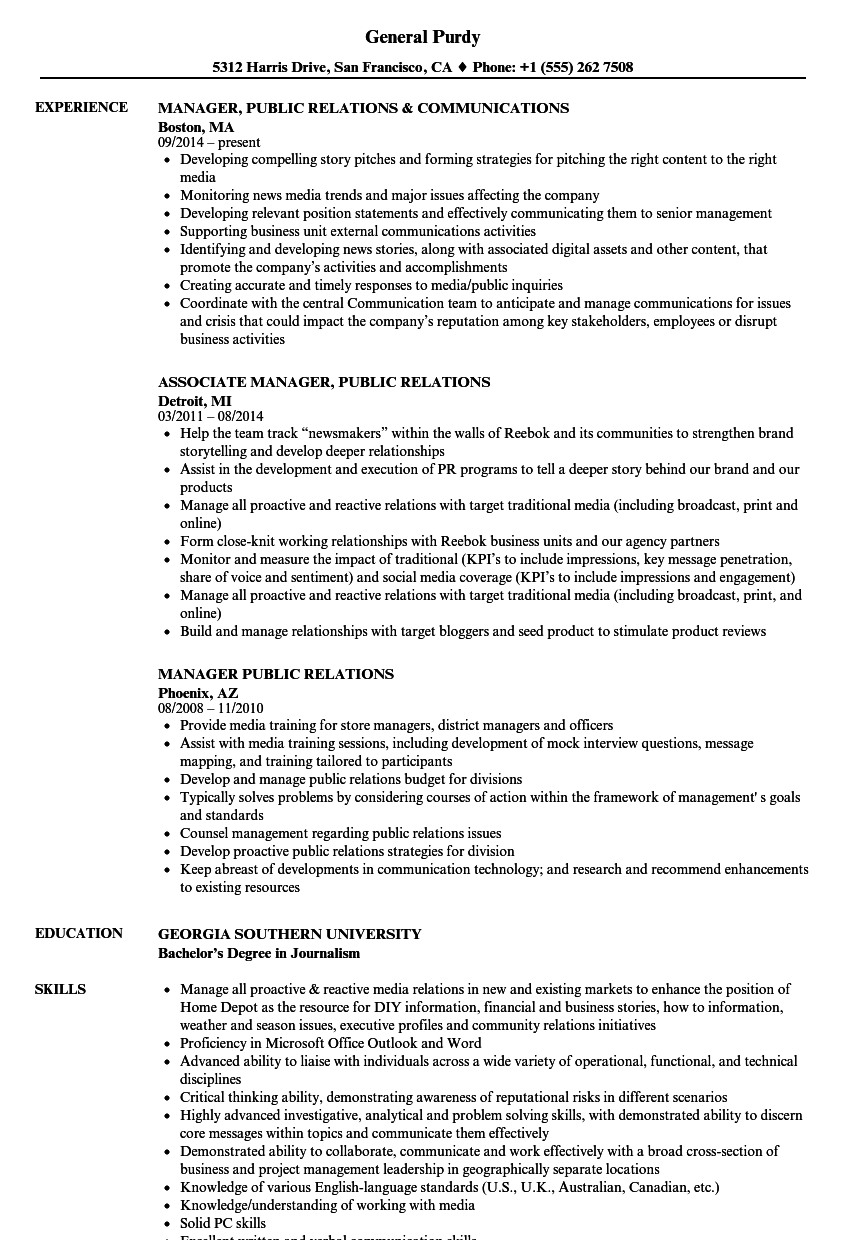 manager public relations resume samples