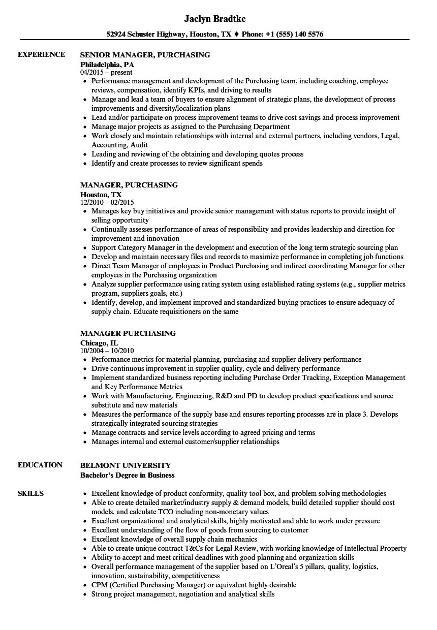 manager  purchasing resume samples