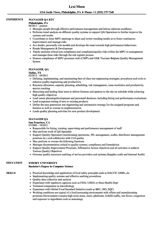 manager  qa resume samples