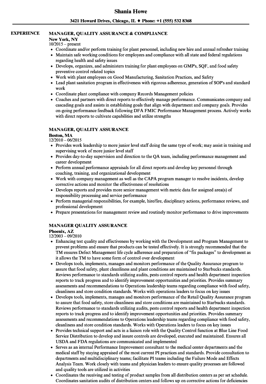 manager  quality assurance resume samples