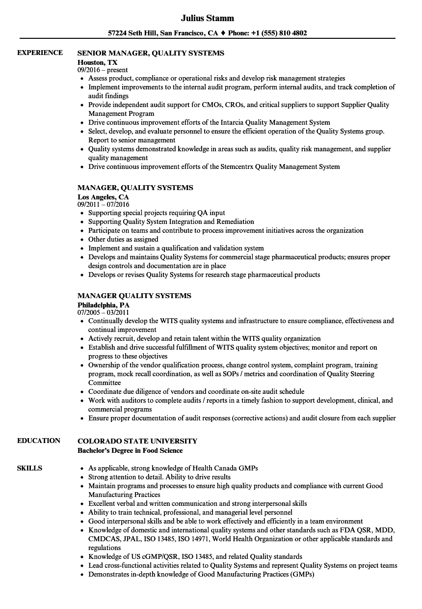 manager  quality systems resume samples