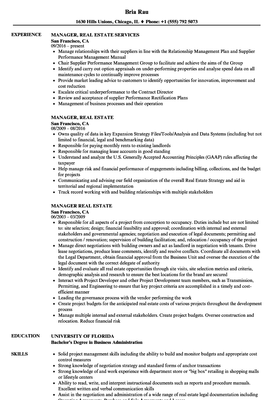 manager  real estate resume samples