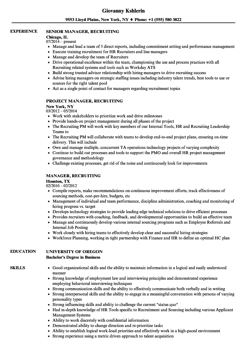 manager  recruiting resume samples