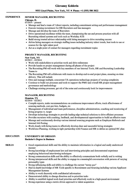 Manager Recruiting Resume Samples Velvet Jobs
