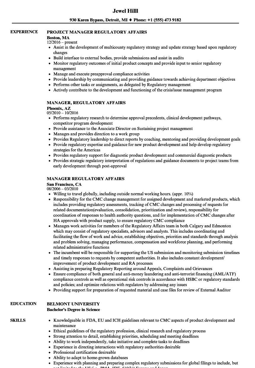 manager regulatory affairs resume samples