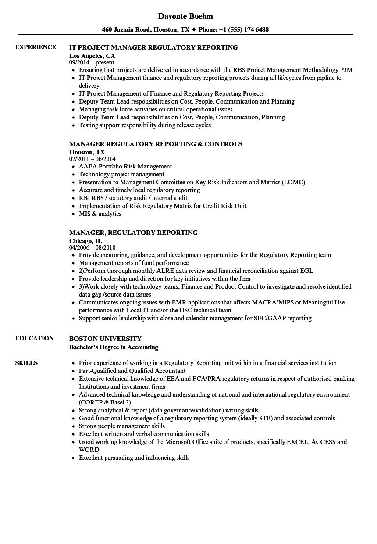 manager  regulatory reporting resume samples