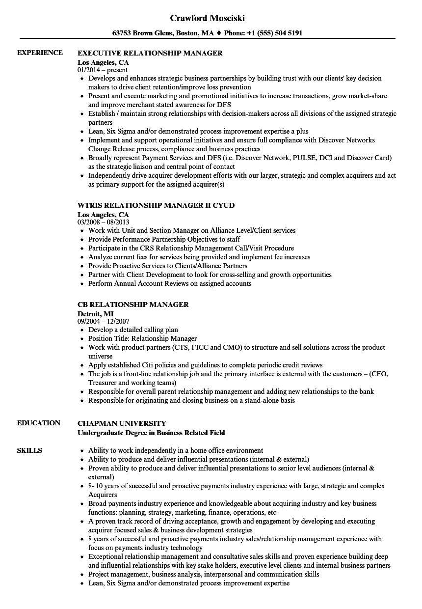 Manager, Relationship Manager Resume Samples | Velvet Jobs