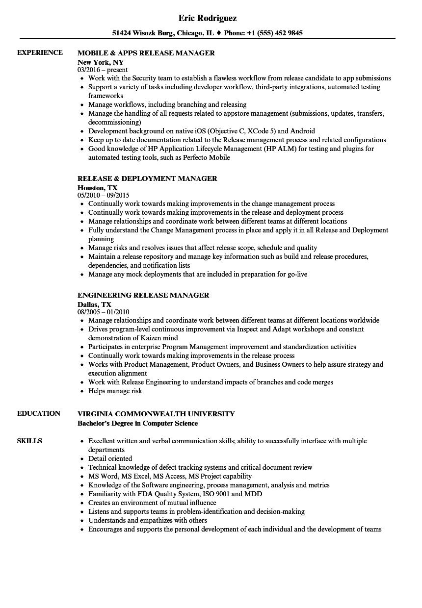manager release resume samples