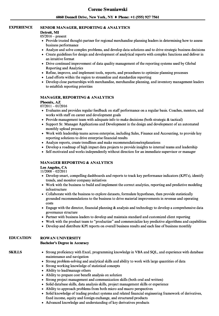 manager  reporting  u0026 analytics resume samples
