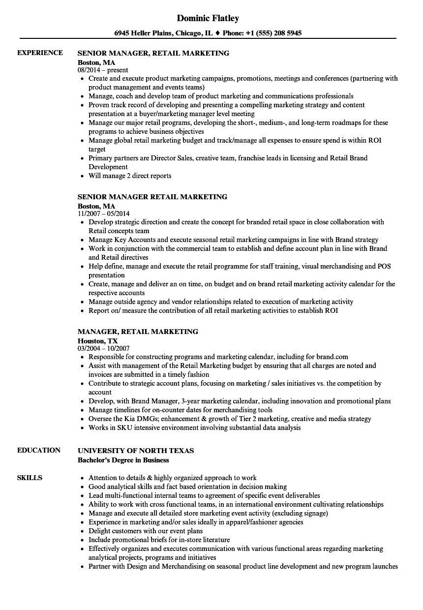 manager retail marketing resume samples velvet jobs