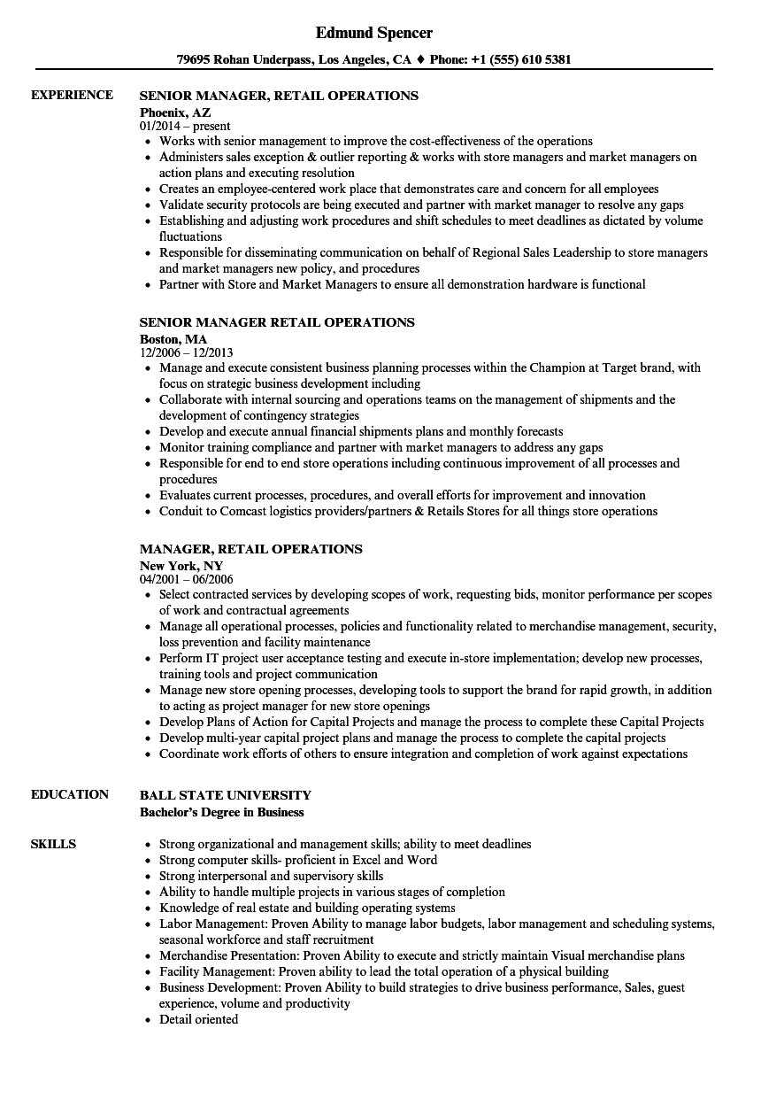Manager  Retail Operations Resume