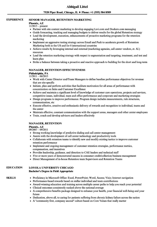 manager  retention resume samples