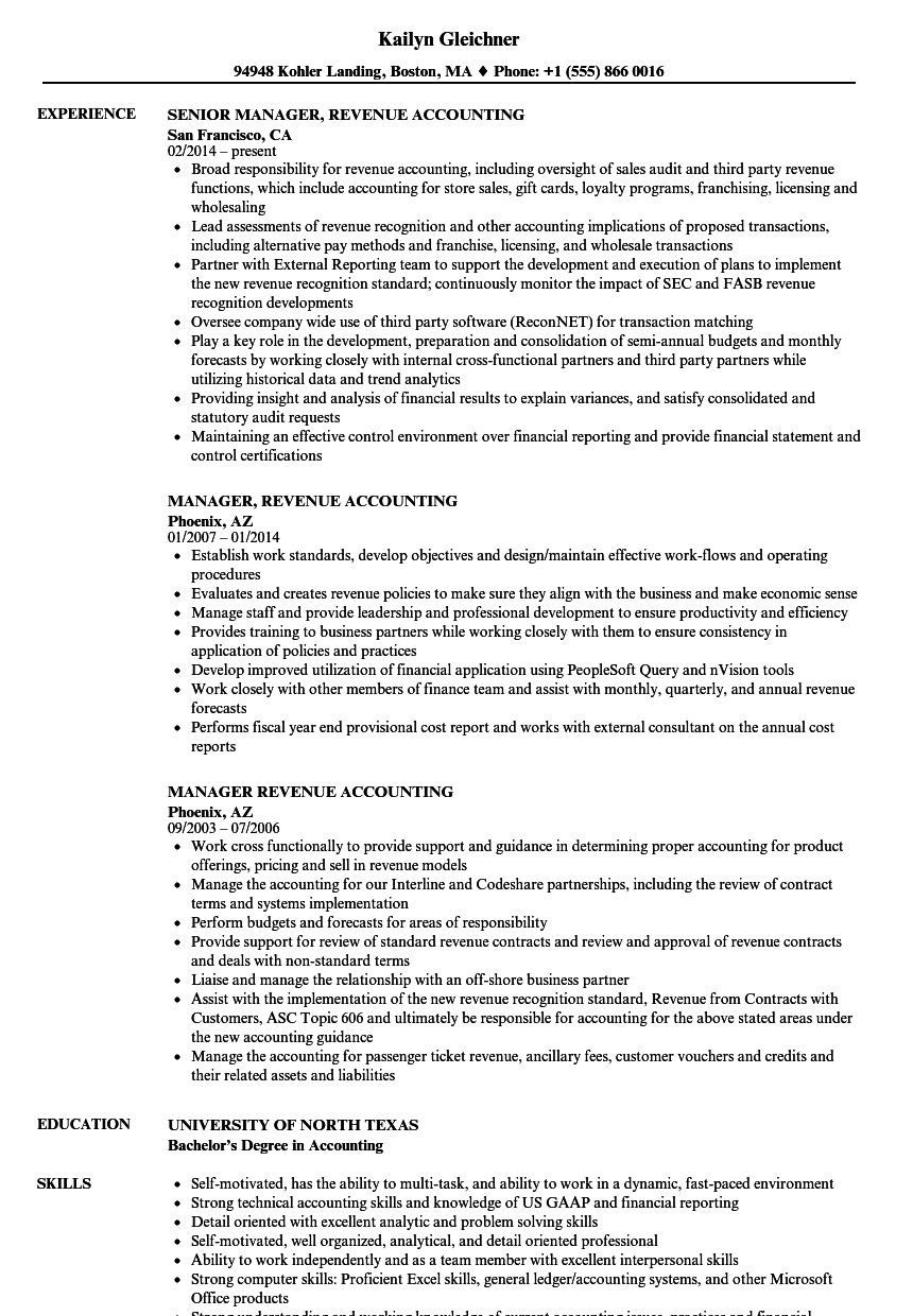 revenue accountant sle resume - 28 images - revenue accountant ...