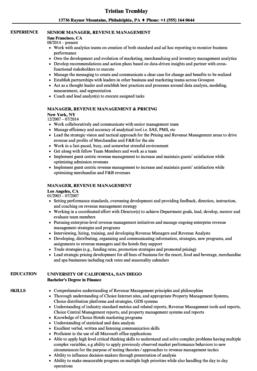 manager  revenue management resume samples