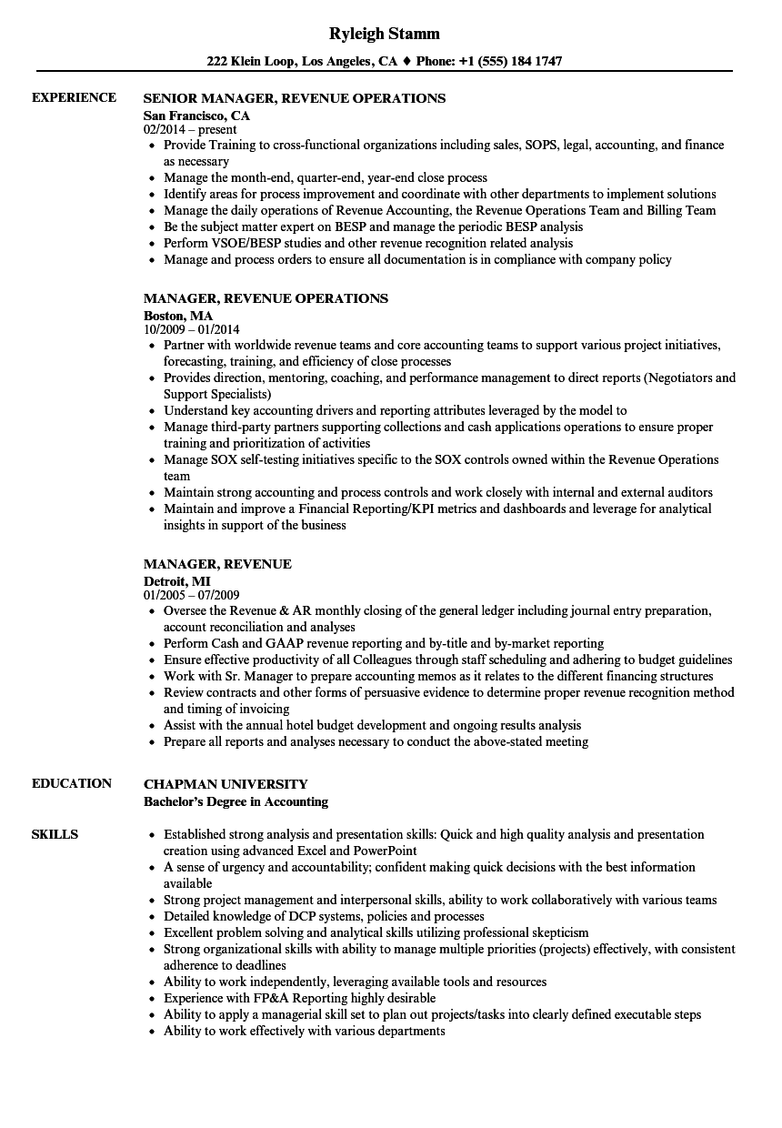 manager  revenue resume samples