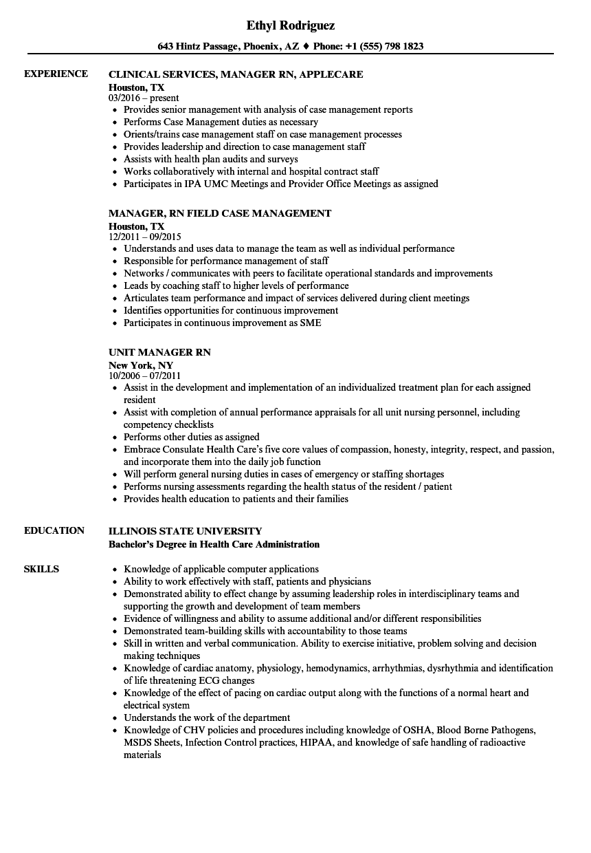 Manager RN Resume Samples | Velvet Jobs