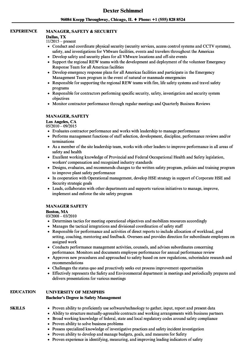 Manager Safety Resume Samples Velvet Jobs