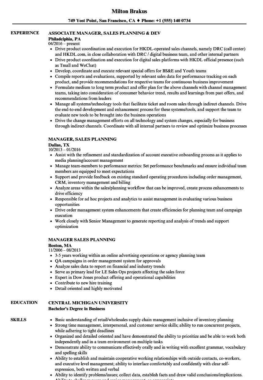 manager  sales planning resume samples
