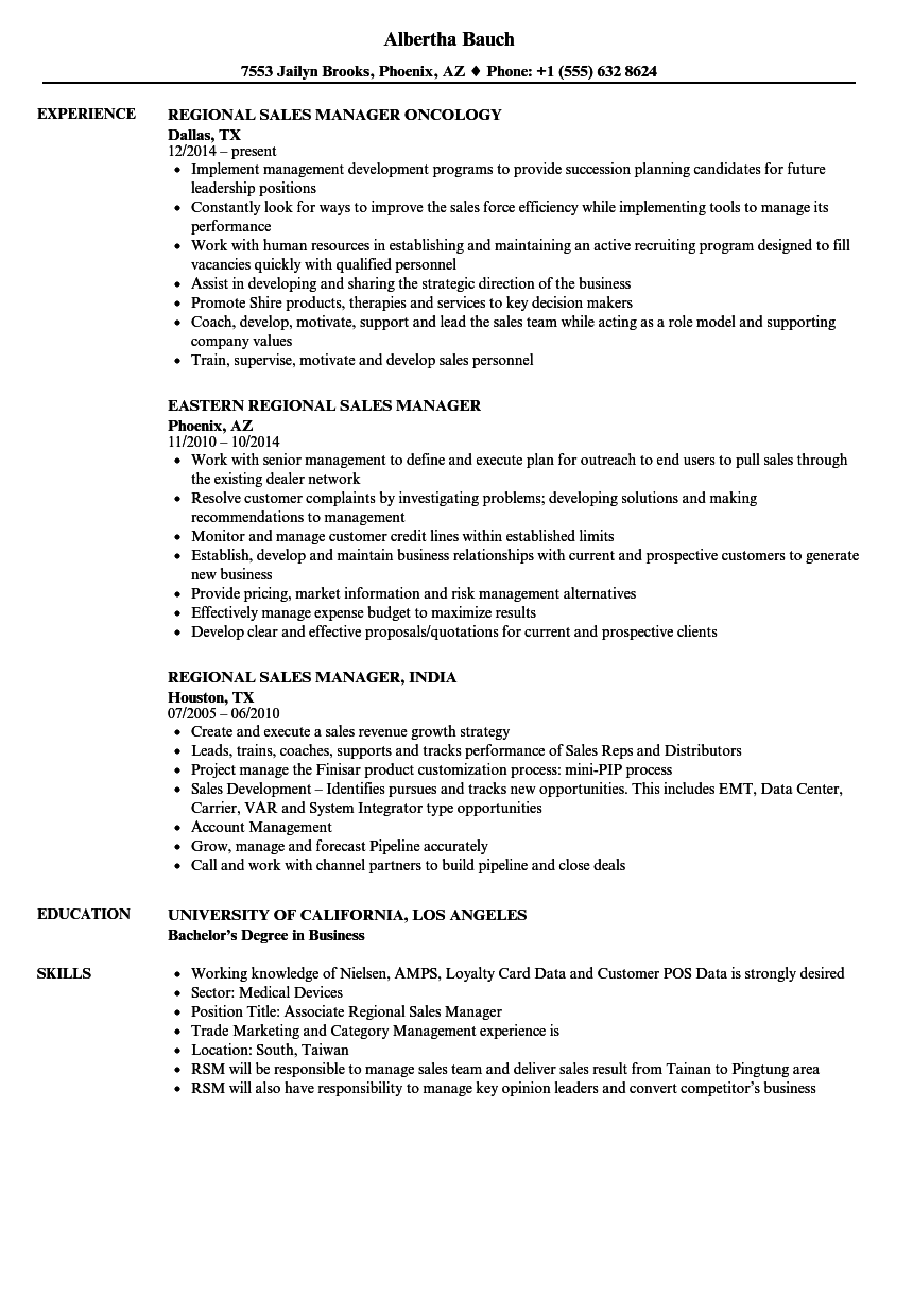 Manager, Sales Regional Resume Samples | Velvet Jobs