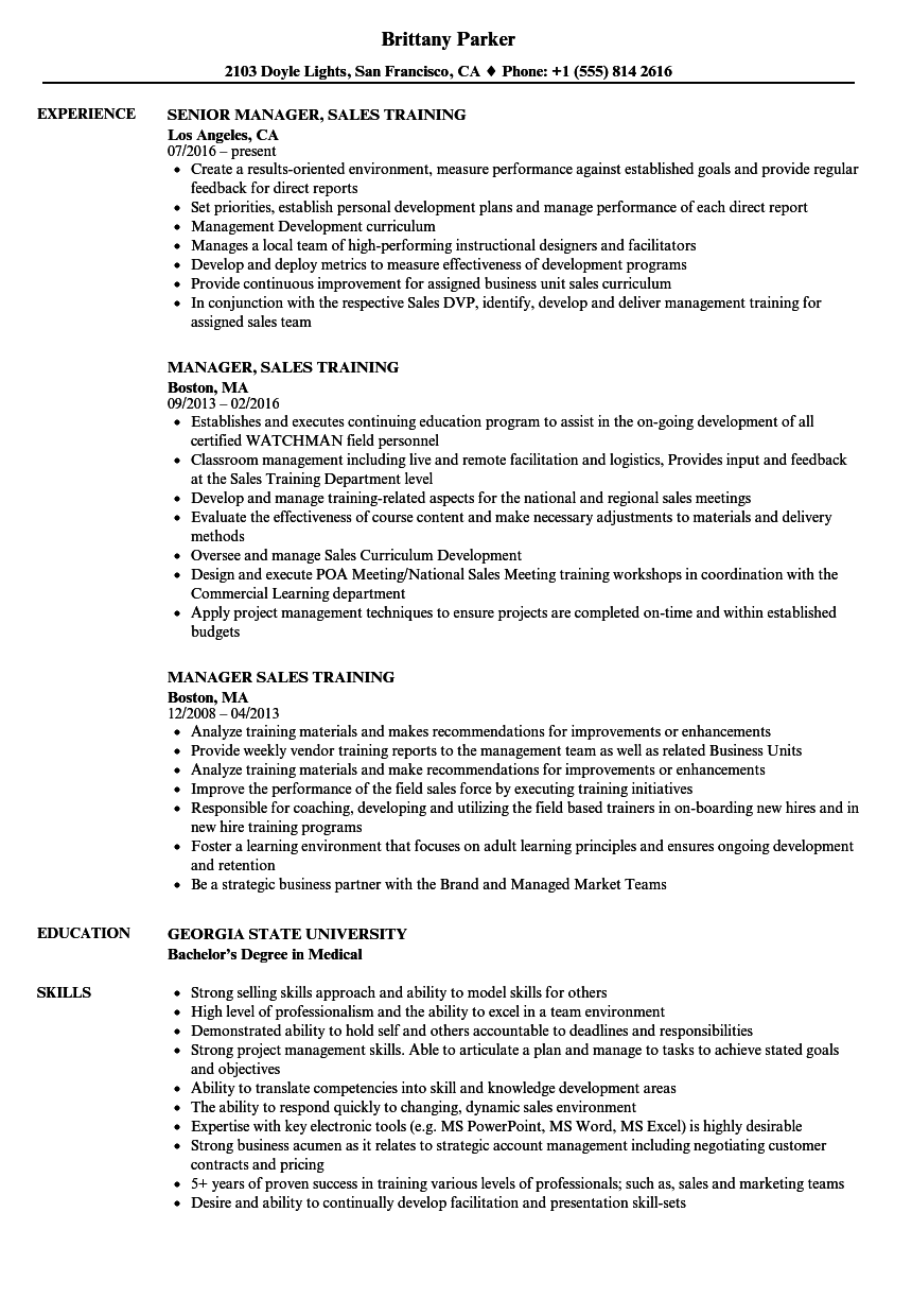 Manager Sales Training Resume Samples Velvet Jobs